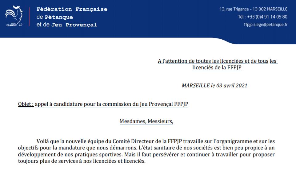 : appel à candidature pour la commission du Jeu Provençal FFPJP